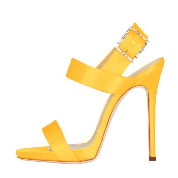 Women's Yellow Slingback Heels Satin Open Toe Stiletto Heels Sandals image 2