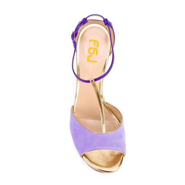 Women's Purple T-strap Peep Toe Wedge Sandals image 4