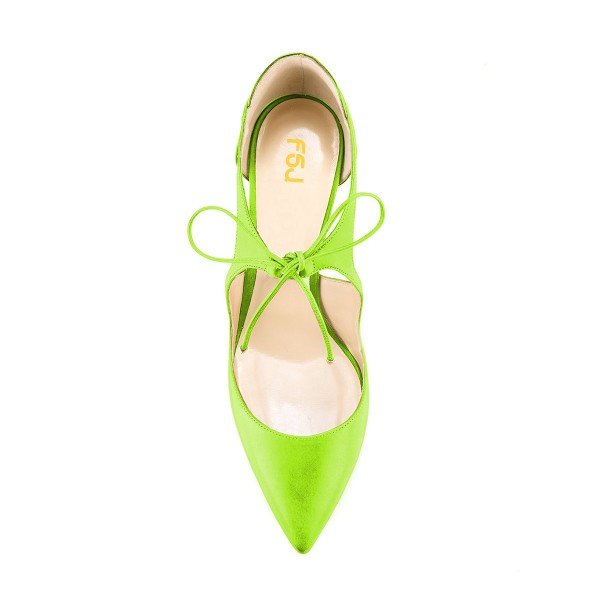 Women's Green Lace-up Pointed Toe Stiletto Heels Sandals image 4