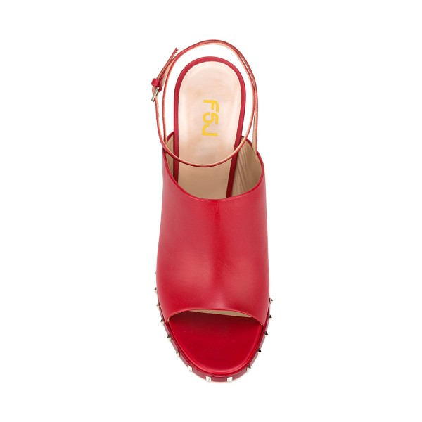 Women's Red Slingback Pumps Rivets Chunky Heels Form Shoes image 4