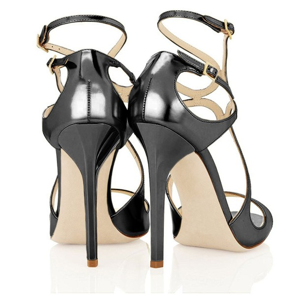 Women's Dark Grey Mirror Leather Stiletto Heel Strappy Sandals image 4