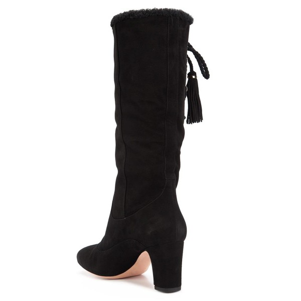 Black Chunky Heel Boots Suede Mid-calf Boots with Tassels image 2