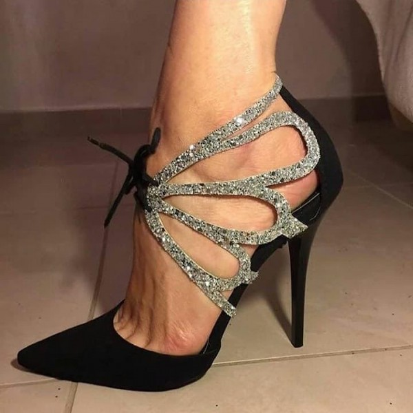 Black and Silver Glitter Pointy Toe Lace up Stiletto Heel Prom Shoes image 1