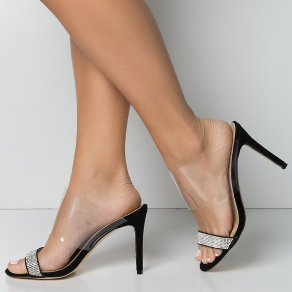 23b0b91ad91 Black Suede and Clear Mule Heels Rhinestone Open Toe Stiletto Heels image 1  ...