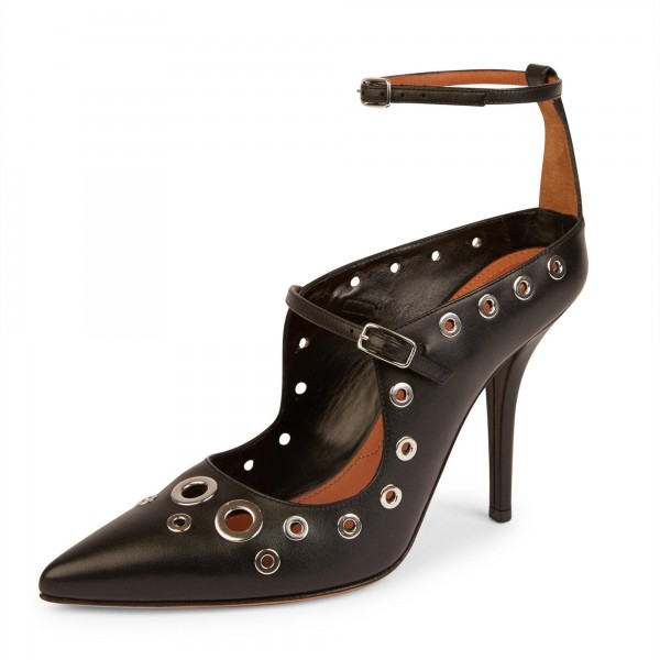 4 inch Heels Black Studded Pointy Toe Ankle Strap Heels for Women image 1