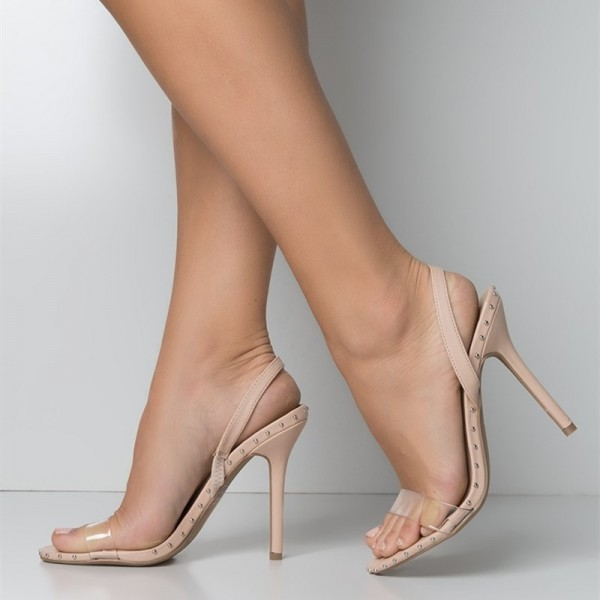 a12faa1ffbb4 Nude and Clear Slingback Heels Open Toe Stiletto Heel Studs Shoes image ...
