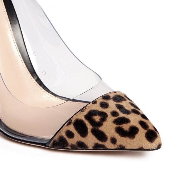 Leopard Print Heels Pointy Toe Clear and Calfhair Stiletto Heel Pumps image 3