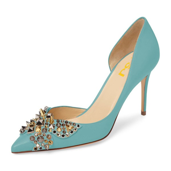 4 inch Heels Light Blue Stiletto Heels Pointy Toe Pumps with Rivets image 1