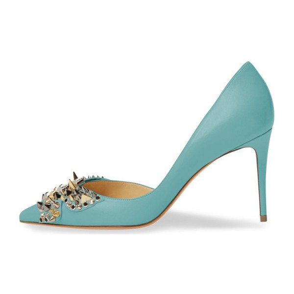 4 inch Heels Light Blue Stiletto Heels Pointy Toe Pumps with Rivets image 2