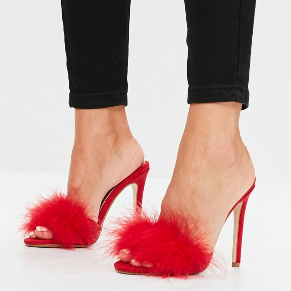 Red Suede Fur Heels Open Toe Stiletto Heel Mules US Size 3-15 image 1