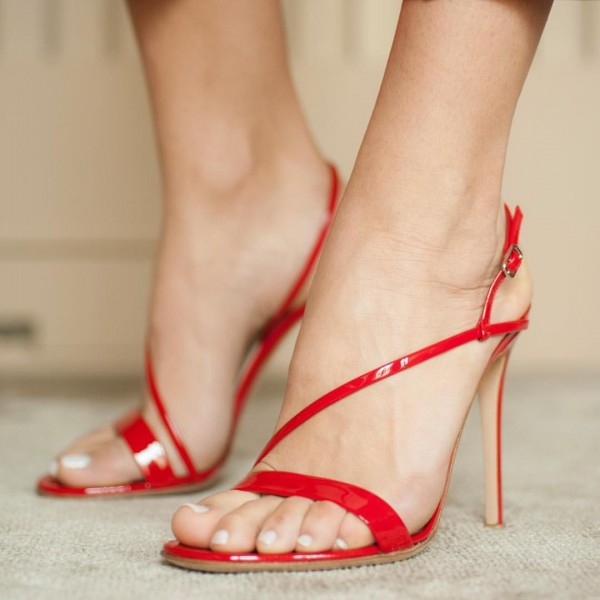 Red Slingback Heels Open Toe Patent Leather Stiletto Heel Sandals image 1