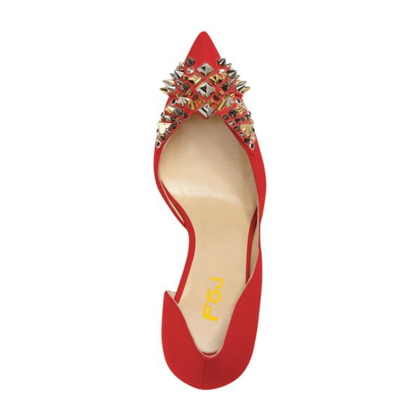 4 inch Heels Red Stiletto Heels Pointy Toe Pumps with Rivets image 2