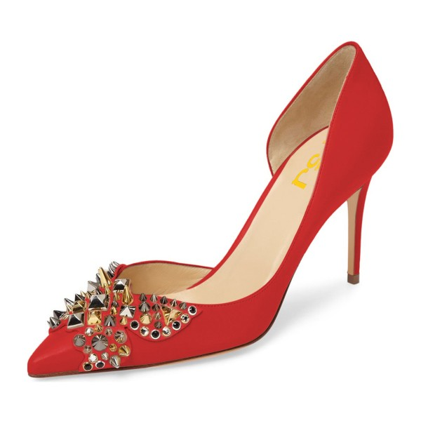 4 inch Heels Red Stiletto Heels Pointy Toe Pumps with Rivets image 1