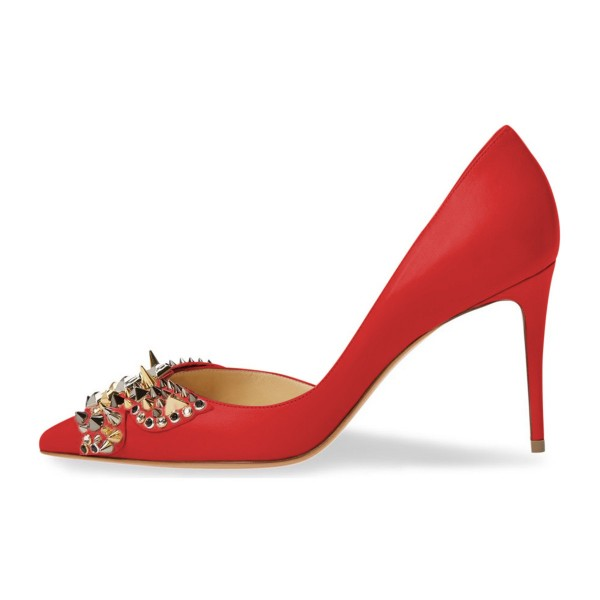 4 inch Heels Red Stiletto Heels Pointy Toe Pumps with Rivets image 3