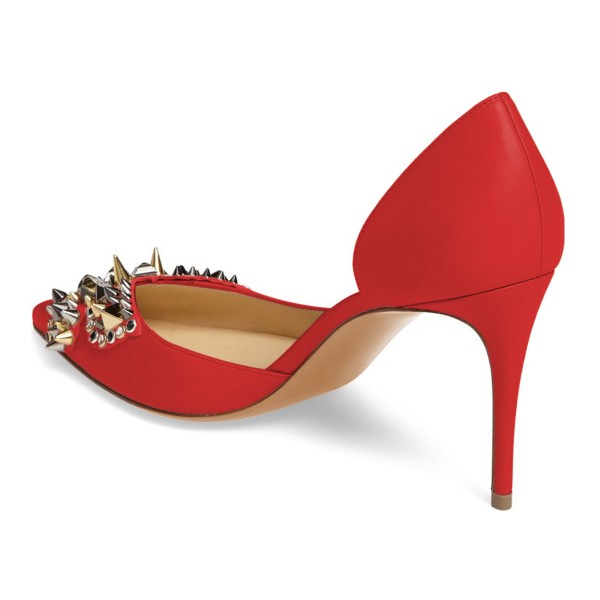 4 inch Heels Red Stiletto Heels Pointy Toe Pumps with Rivets image 4