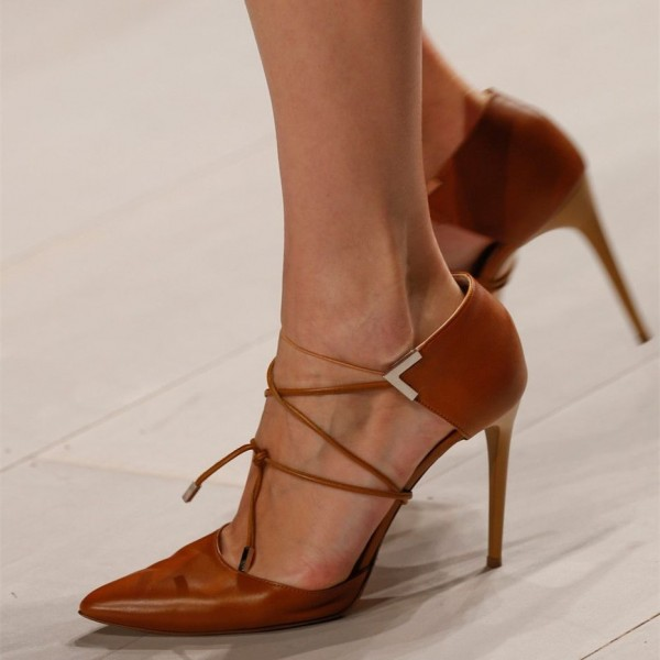 Tan Lace up Heels Pointy Toe Stiletto Heel Pumps image 1