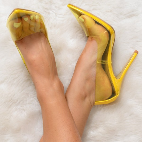 Yellow Clear Heels Pointy Toe Stiletto Heels Pumps image 3
