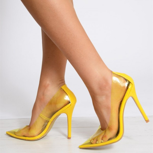 Yellow Clear Heels Pointy Toe Stiletto Heels Pumps image 2