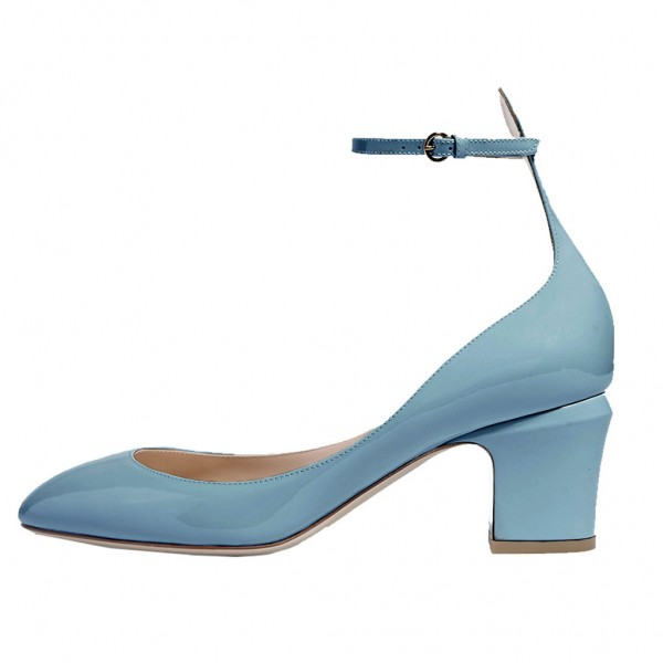 Blue Round Toe Block Heel Ankle Strap Pumps for Ladies image 1