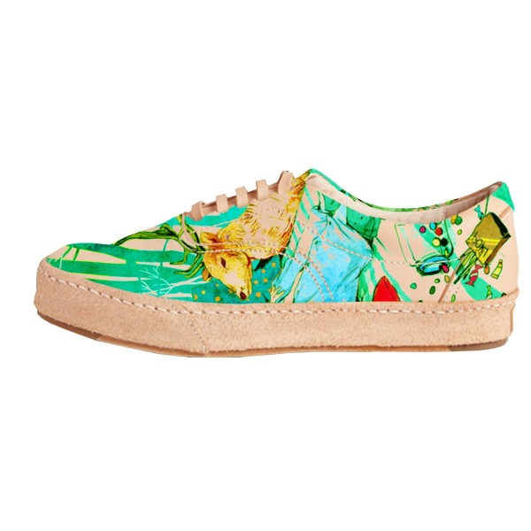 Women's Colorful Printed Sneakers Lace-Up Comfortable Flats  image 1