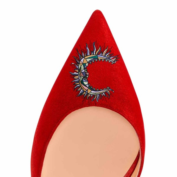 Women's Red Embroidery Pointy Toe Stiletto Heels Suede D'orsay Pumps image 4