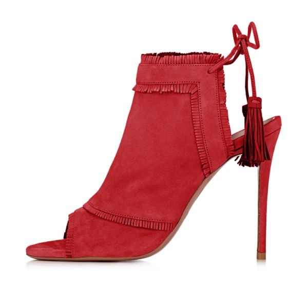 Red Summer Boots Peep Toe Tassels Slingback Ankle Booties image 2