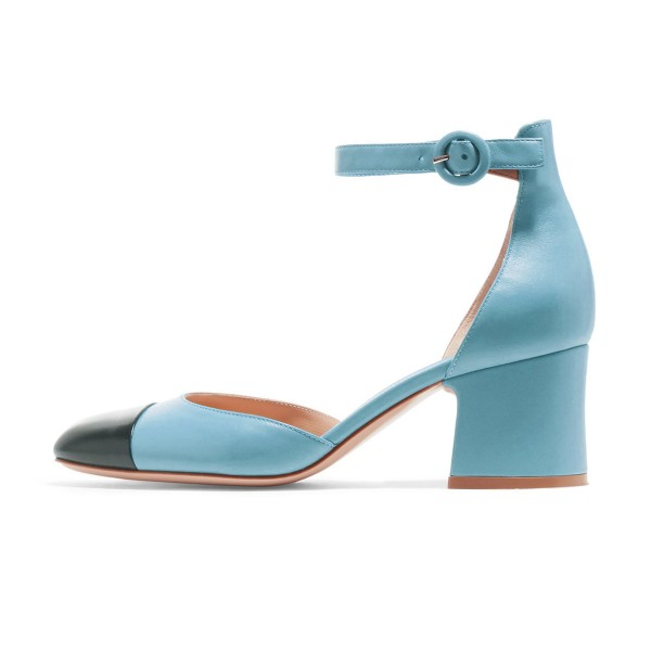 Women's Light Blue Ankle Strap  Vintage Chunky Heels Pumps Shoes image 2