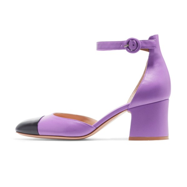Women's Purple Ankle Strap  Vintage Chunky Heels Pumps Shoes image 2