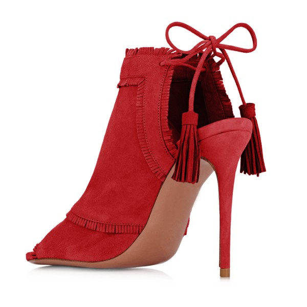 Red Summer Boots Peep Toe Tassels Slingback Ankle Booties image 3