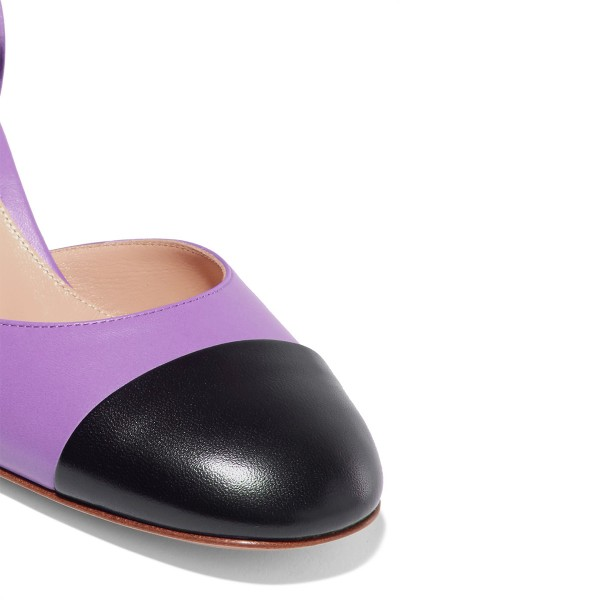 Women's Purple Ankle Strap  Vintage Chunky Heels Pumps Shoes image 3
