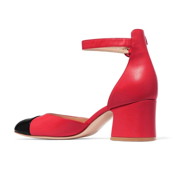 Women's Red Ankle Strap  Vintage Chunky Heels Pumps Shoes image 4