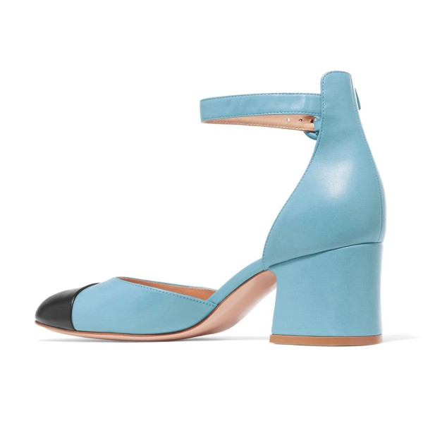 Women's Light Blue Ankle Strap  Vintage Chunky Heels Pumps Shoes image 4