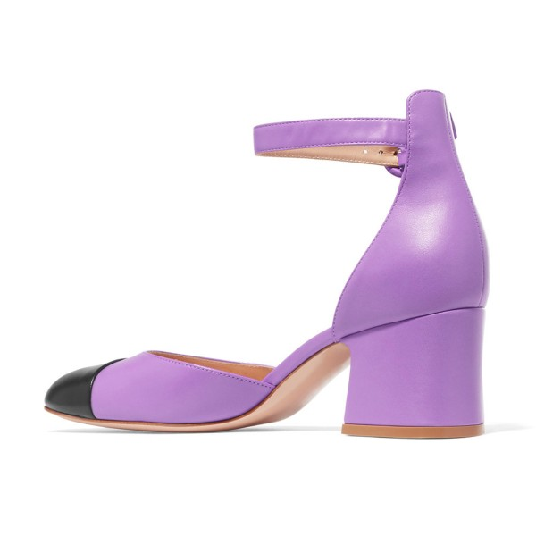 Women's Purple Ankle Strap  Vintage Chunky Heels Pumps Shoes image 4