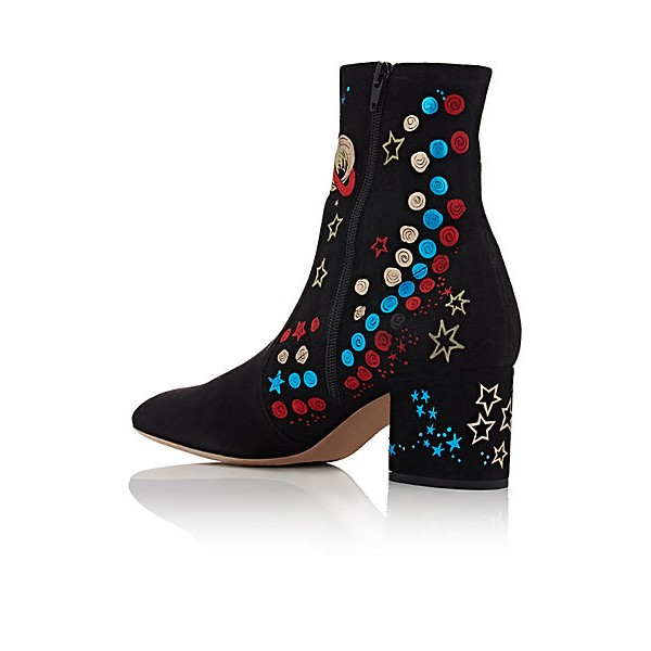 Women's Black Pointed Toe  Universe Pattern Ankle  Chunky Heel Boots image 1