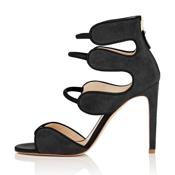 Women's Black Open Toe Strappy Hollow Out  Stiletto Heels  Sandals image 2
