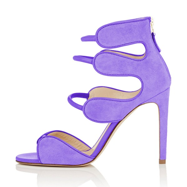 Women's Purple Open Toe Strappy Hollow Out  Stiletto Heels  Sandals image 2