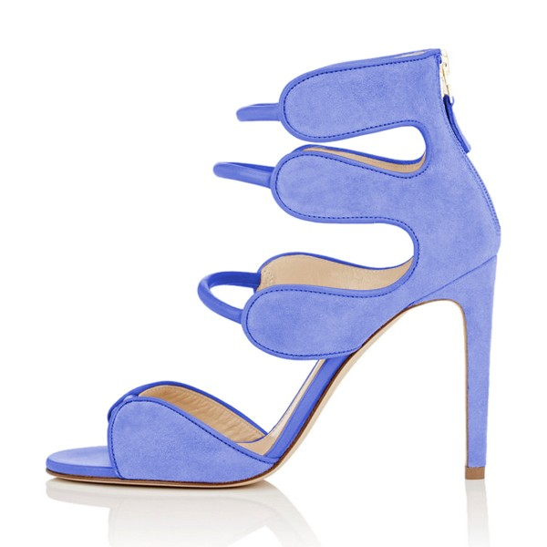 Women's Blue Open Toe Strappy Hollow Out  Stiletto Heels  Sandals image 2