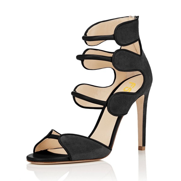 Women's Black Open Toe Strappy Hollow Out  Stiletto Heels  Sandals image 1