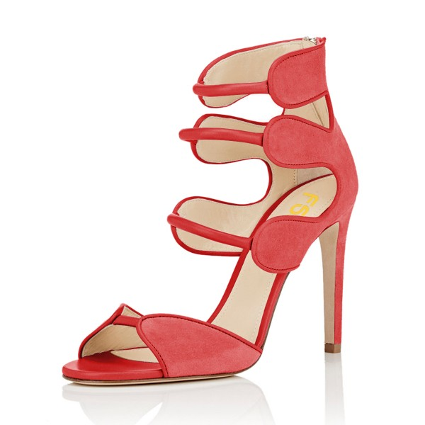 Women's Orange Open Toe Strappy Hollow Out  Stiletto Heels  Sandals image 1