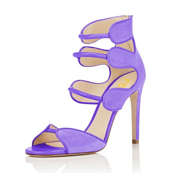 Women's Purple Open Toe Strappy Hollow Out  Stiletto Heels  Sandals image 1