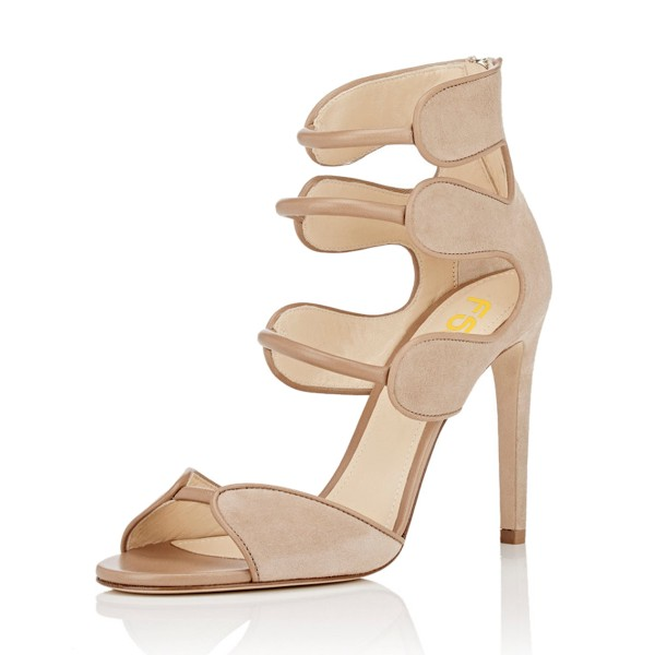 Women's Nude Open Toe Strappy Stiletto Heels Hollow Out Sandals image 1