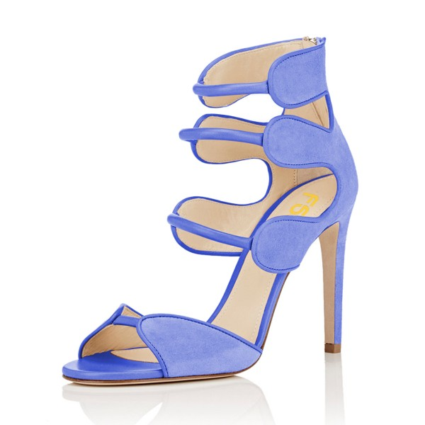 Women's Blue Open Toe Strappy Hollow Out  Stiletto Heels  Sandals image 1