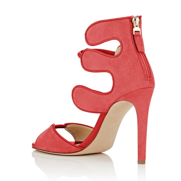 Women's Orange Open Toe Strappy Hollow Out  Stiletto Heels  Sandals image 3
