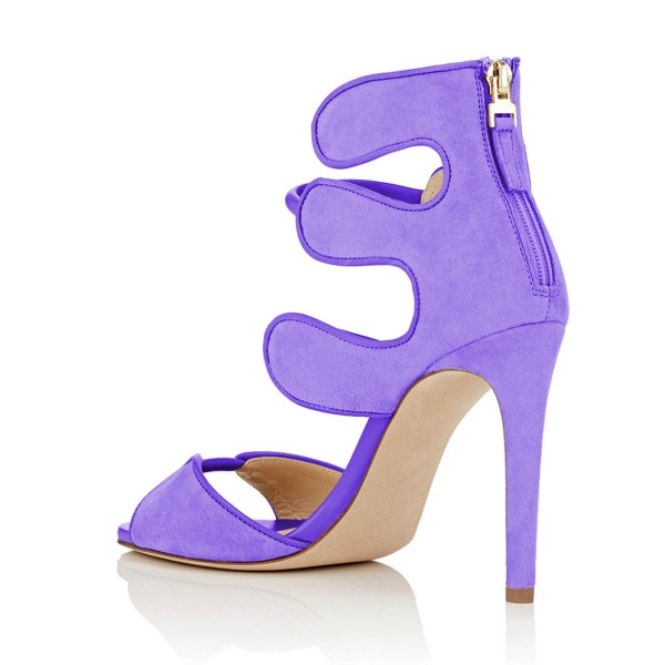 Women's Purple Open Toe Strappy Hollow Out  Stiletto Heels  Sandals image 3