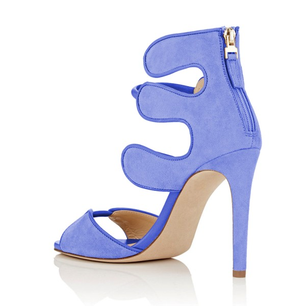 Women's Blue Open Toe Strappy Hollow Out  Stiletto Heels  Sandals image 3