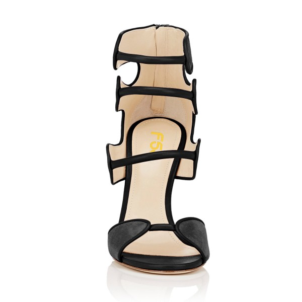 Women's Black Open Toe Strappy Hollow Out  Stiletto Heels  Sandals image 4