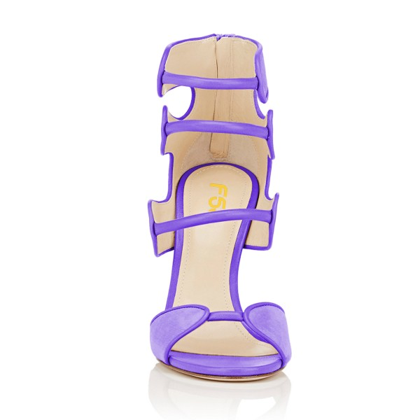 Women's Purple Open Toe Strappy Hollow Out  Stiletto Heels  Sandals image 4