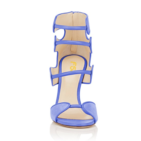 Women's Blue Open Toe Strappy Hollow Out  Stiletto Heels  Sandals image 4