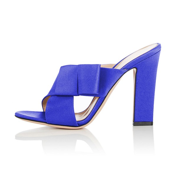 FSJ Royal Blue Satin Bow Mule Heels Open Toe Office Chunky Heels image 2
