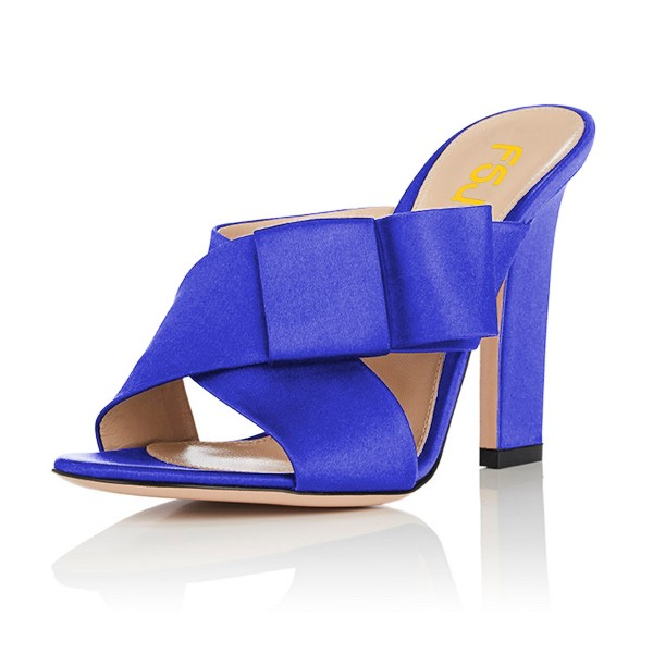 FSJ Royal Blue Satin Bow Mule Heels Open Toe Office Chunky Heels image 1